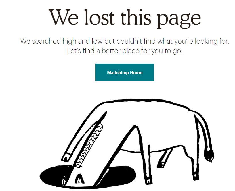 voorbeeld 404 pagina mailchimp